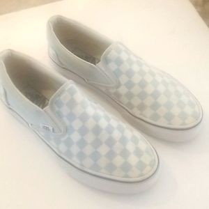VANS Blue and White Check Old Skool Skate Shoes